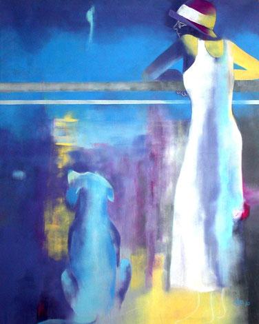 Meeresblick, Öl auf Leinen, 100 x 80 cm