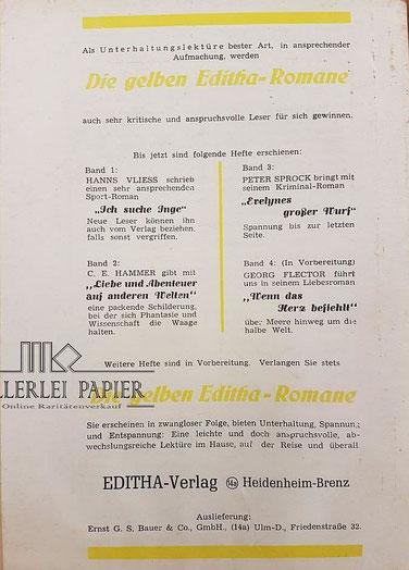 Die gelben Editha Romane Band 2 Rückseite