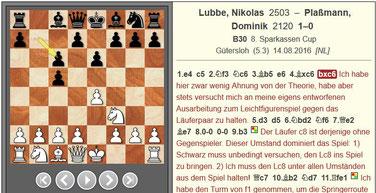 Schachpartie Kommentierung Lubbe Schach