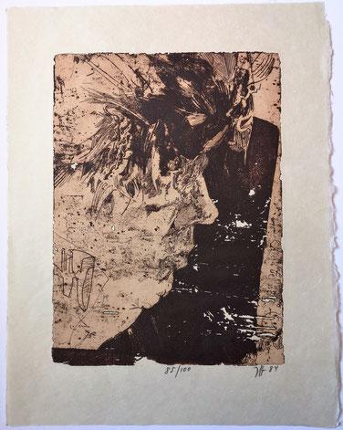 Horst Janssen gravure lithographie autoportrait