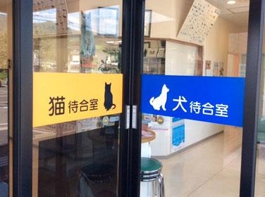 病院入口の写真:向かって左側が猫待合室の入り口、右側が犬待合室の入り口。