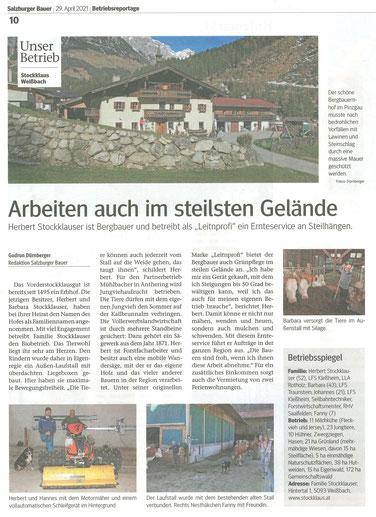 Bericht Salzburger Bauer vom 29.04.2021