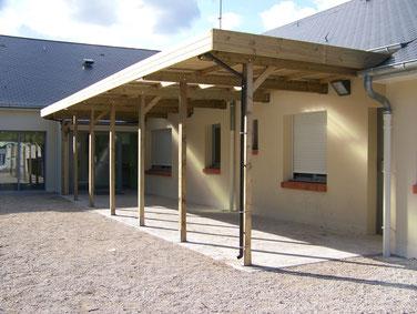 abri bois, carport bois annexe toit plat