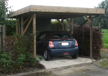 abri bois, carport bois simple toit plat