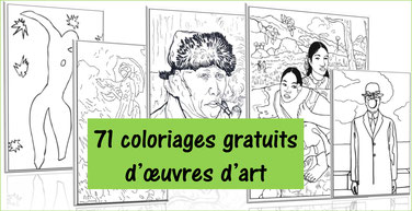 71 coloriages d'OEUVRES CELEBRES