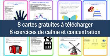 CALME/CONCENTRATION: 8 cartes, 8 exercices
