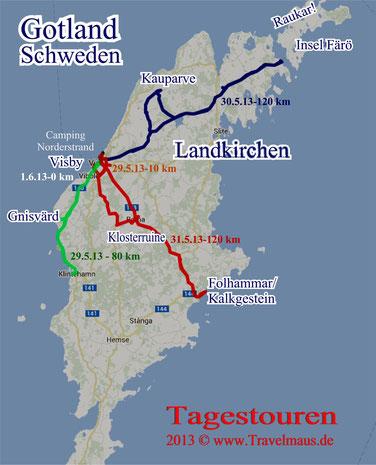 Überblick: Tagesstrecken Gotland in km [interaktive Googlekarte folgt]