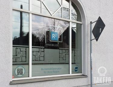 Fensterbeschriftung Immobilienbüro