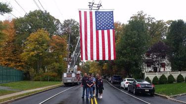At LaGrande and Third - Firefighters Zak Weisglass, Bruce Padulsky, Ken Gorman, Tony Grasso Jr and Asst Chief Dave Zawodniak.