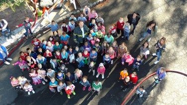 School 1 students in a photo taken from the top of Ladder 1