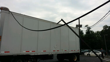 Wires and a light pole were taken down by a truck exiting QuickChek on North Ave