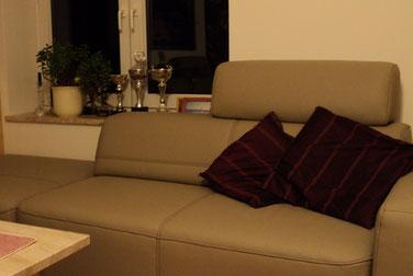 Nowoczesna kanapa z ciemnymi,poduszkami, na okiennym parapecie przypadkowy zbiór ozdób.