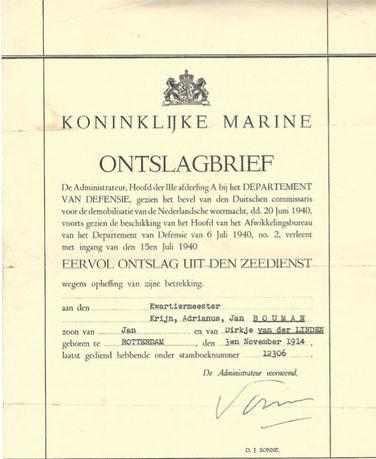 Ontslagbrief Marine