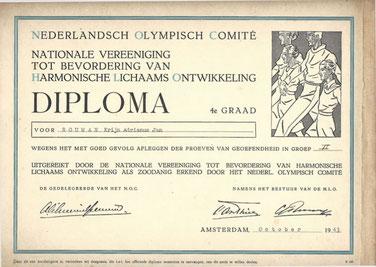 Diploma Nederlandsch Olympisch Comité certificaat 4de graad