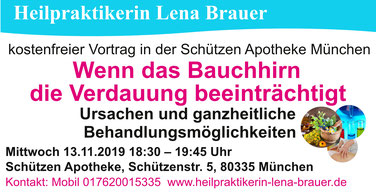 Vortrag München Schützen Apotheke Bauchhirn Reizdarm Verdauung Heilpraktikerin Lena Brauer