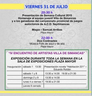 Programa Semana Cultural Simancas