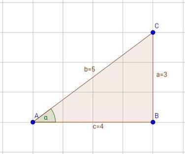 Dreieck mit eingezeichneter Länge und Winkel