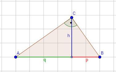 Dreieck mit allen nötigen Längen für den Höhensatz