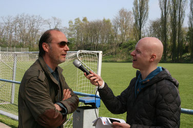 Schauspieler Martin Brambach im Interview mit David Pätzold vom Lokalsender Radio Vest. Foto: Dirk Hantrop