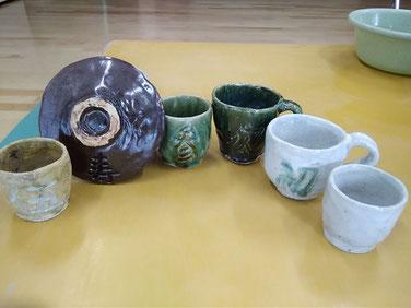 初作品の品々!一部は自分用、一部はお客さま朝食時の湯のみとして早速使います。
