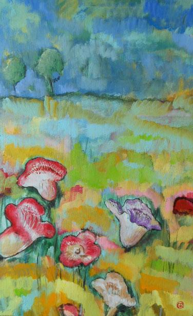 peinture de fleurs sur toile.