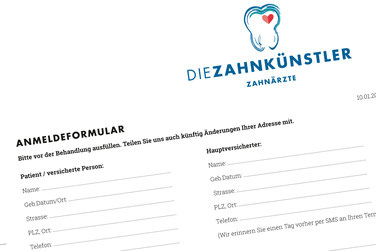 Anmeldeformular Die Zahnkünstler Hannover