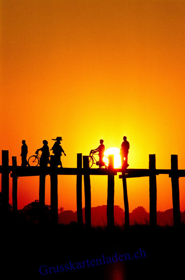 Sonnenuntergang Myanmar Glückwunschkarte