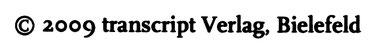 """Beispiele für die konsequente Kleinschreibung des Verlagsnamens """"transcript"""""""