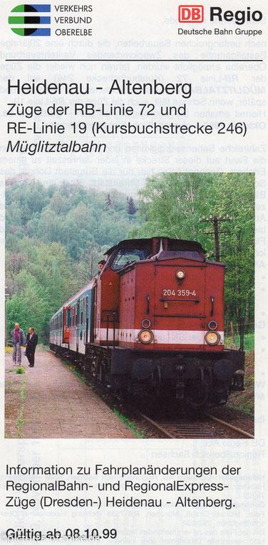 Auf den Streckenfahrplanheft von 1999 war ich im vollem Einsatz abgebildet, obwohl zu der Zeit schon nicht mehr in Dresden tätig. Die Aufnahme entstand am 29.04.1998 mit RB 7538 in Oberschlottwitz.