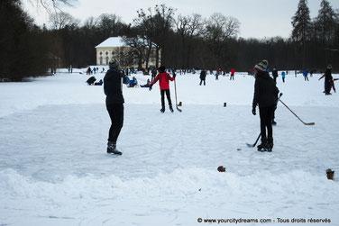 Hockey sur glace sur les lacs du parc de Nymphenburg à Munich