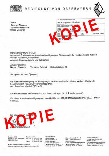 Kopie der Eintragung in Handwerksrolle München
