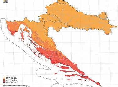 Количество солнечной энергии, солнечных часов в Хорватии