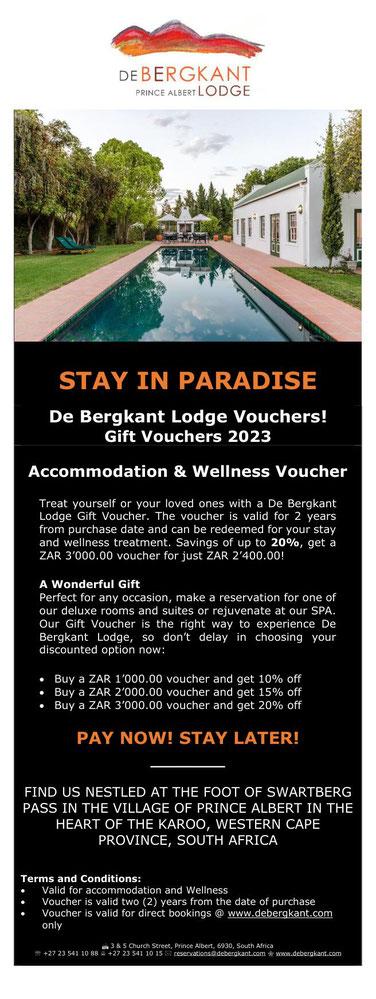 De Bergkant Lodge eStore - Gift Vouchers 2021