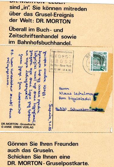 Dr.Morton Postkarte Rückseite