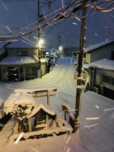隠岐の島 京見屋分店 冬 八尾川橋 雪景色