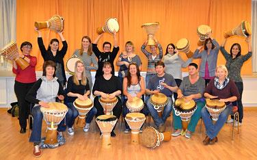 Glückliche TrommlerInnen im Universitätsklinikum St.Pölten