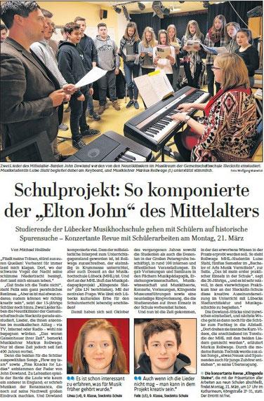 Zeitungsbericht freundlicherweise zur Verfügung gestellt von der LN vom 09.03.2016, Bericht von Michael Hollinde, Foto: Wolfgang Maxwitat