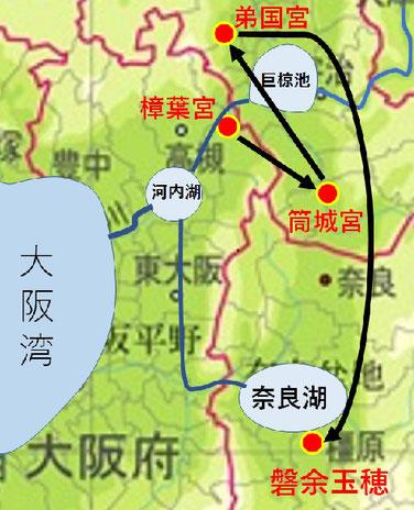 継体天皇即位後の、遷都の図