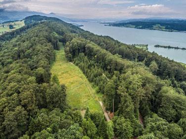Luftaufnahme Buchberg, Zürichsee , links Tuggen.
