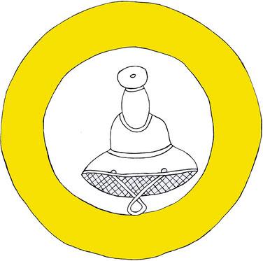 Augsburger Judenzeichen von 1434, gelber Ring mit einem Durchmesser von 19 cm, im inneren Ring Judenhut abgebildet