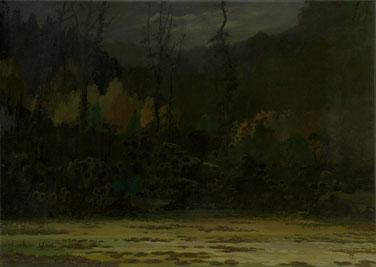 """Martin Guido Becker, Waldstück"""", 2010, Öl/Lwd, 50/70 cm"""
