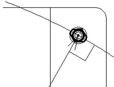 ダイヤピンはX-Y基準からの延長線上と垂直に配置します。