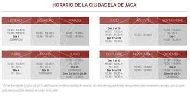 Horarios ciudadela de Jaca 2017
