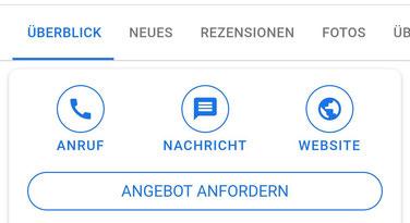 """Screenshot des Buttons """"Angebot anfordern"""" in der mobilen Google Suche."""