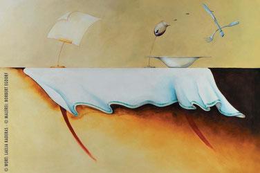 """Gemälde von Norbert Egdorf: gedeckter Tisch in Aufruhr. """"Wort-Malerei"""" als """"Geschenk aus Worten"""""""