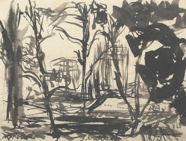 WINTERLICHER GARTEN 2010  Tusche auf Papier   48,5 x 65 cm