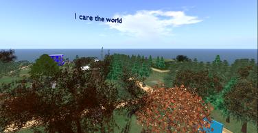 panoramica dall'alto del mondo virtuale