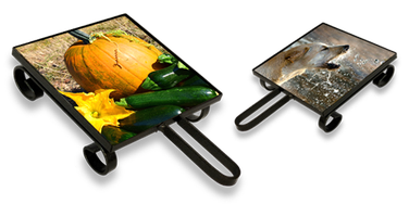 """Dessous de plat. Support en Fer Forgé. Carrelage 10 x 10 cm ou 15 x 15 cm.  Avec carrelage """"Marbre rustique"""" ou carrelage blanc brillant."""