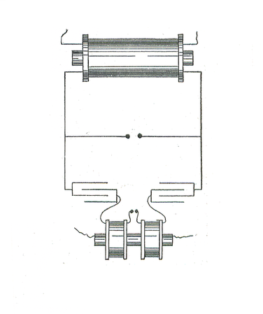 "One form of Nikola Tesla's Spark-gap transmitter. Source: H. S. Norrie, ""Induction coils: how to make, use, and repair them"". Norman H. Schneider, 1907, 4th edition, New York."