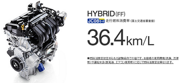 驚異の燃費JC08モードハイブリッド(FF)
